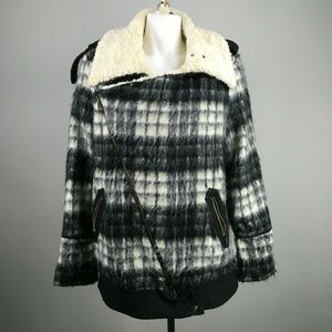 Free People Plaid Oversized Moto Sherpa Jacket